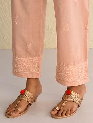 Peach Tie-Up Waist Chikankari Cotton Pants