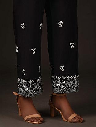 Black Tie-Up Waist Chikankari Cotton Pants