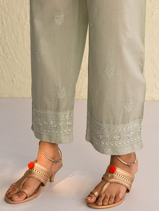 Grey Tie-Up Waist Chikankari Cotton Pants