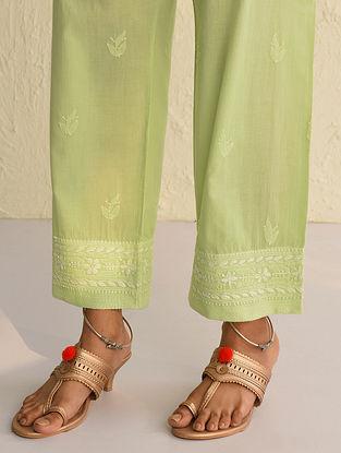 Green Tie-Up Waist Chikankari Cotton Pants