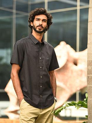 Black Handspun and Handwoven Cotton Half Sleeve Shirt