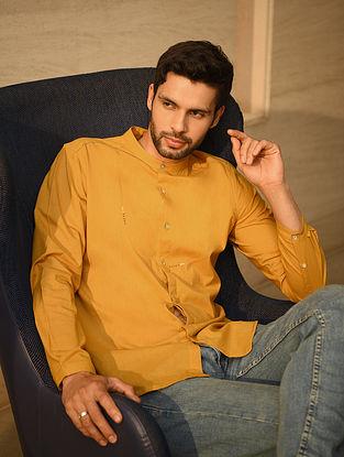 Mustard Handspun and Handwoven Cotton Full Sleeve Shirt