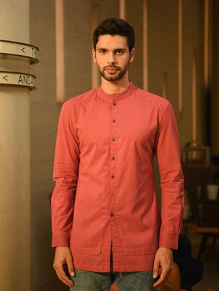 Red Handspun and Handwoven Cotton Full Sleeve Shirt