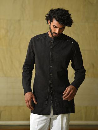 Black Handspun and Handwoven Cotton Full Sleeve Shirt