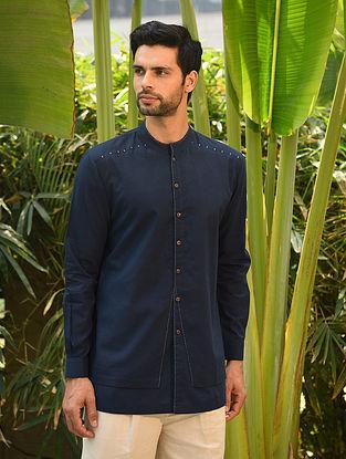 Blue Handspun and Handwoven Cotton Full Sleeve Shirt
