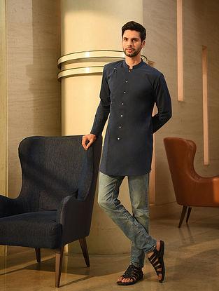 Blue Handspun and Handwoven Cotton Full Sleeve Long Shirt Kurta