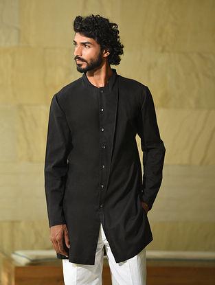 Black Handspun and Handwoven Cotton Full Sleeve Long Shirt Kurta