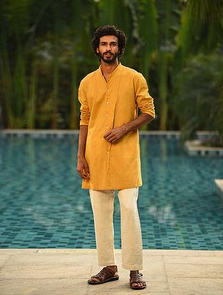 Mustard Handspun and Handwoven Cotton Full Sleeve Long Shirt Kurta