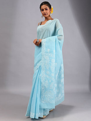 Turquoise Chikankari Cotton Saree