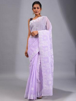 Lavender Chikankari Cotton Saree