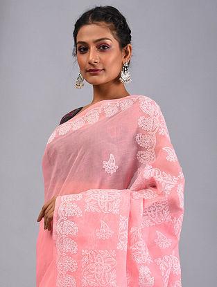Pink Chikankari Cotton Saree