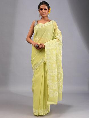Green Chikankari Cotton Saree