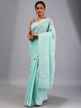 Blue Chikankari Cotton Saree