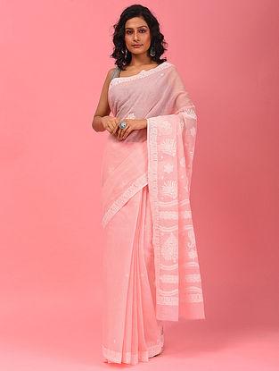 Pink Chikankari Cotton Blend Saree