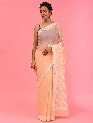 Peach Chikankari Cotton Blend Saree