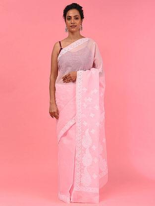 Pink Chikankari Kota Doria Saree
