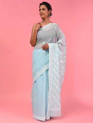 Blue Chikankari Cotton Blend Saree