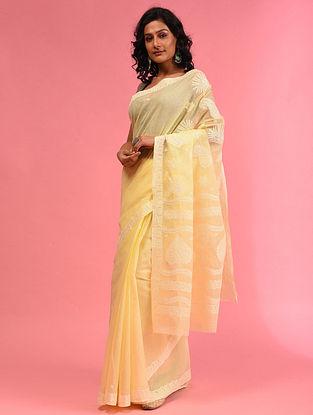 Yellow  Chikankari Cotton Blend Saree