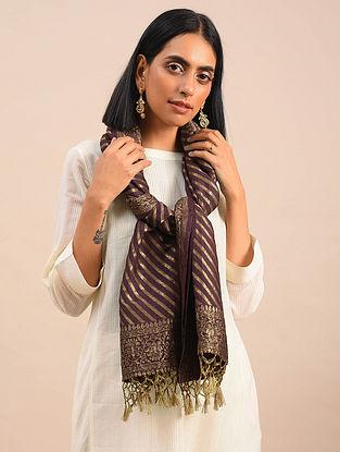 Plum Handwoven Benarasi Muga Silk Stole