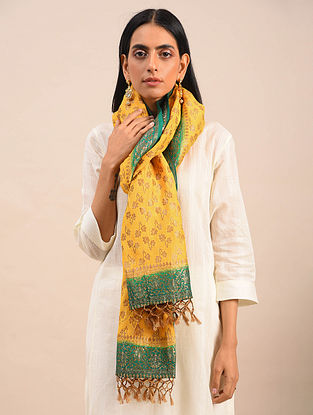 Yellow-Green Handwoven Benarasi Muga Silk Stole