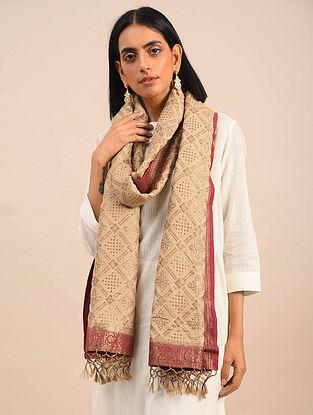 Ivory Handwoven Benarasi Muga Silk Stole