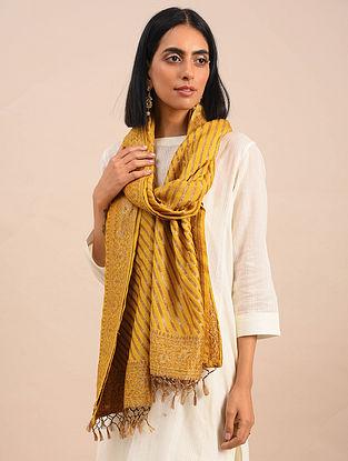 Yellow Handwoven Benarasi Muga Silk Stole