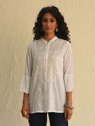 White Chikankari Cotton Short Kurta with Mukaish