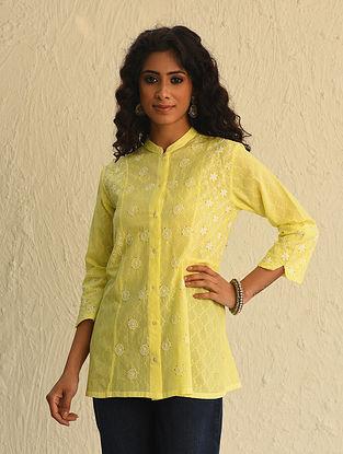 Yellow Chikankari Cotton Short Kurta with Mukaish