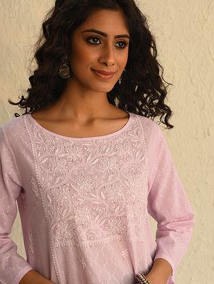 Pink Chikankari Cotton Short Kurta with Mukaish