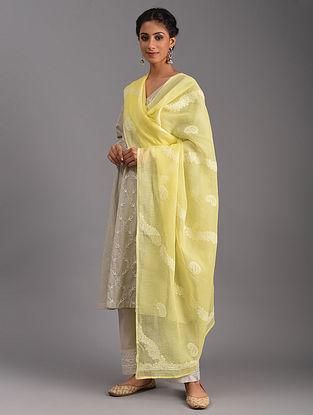 Yellow Chikankari Kota Cotton Dupatta