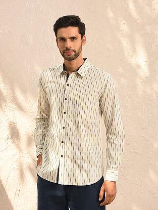 White Ikat Cotton Full Sleeve Shirt