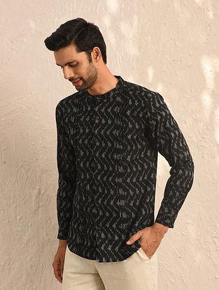 Black Ikat Cotton Full Sleeve Shirt