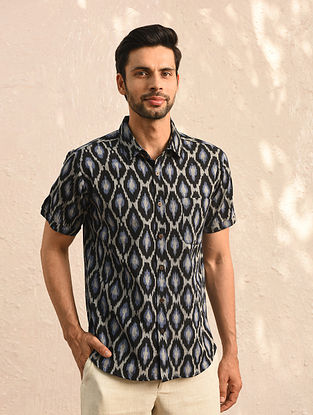 Black Ikat Cotton Half Sleeve Shirt