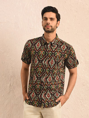 Multicolor Ikat Cotton Half Sleeve Shirt