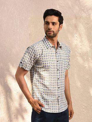 Blue Ikat Cotton Half Sleeve Shirt