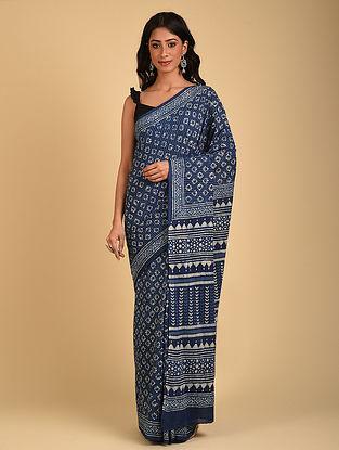 Indigo Natural Dyed Dabu Printed Mul Cotton Saree