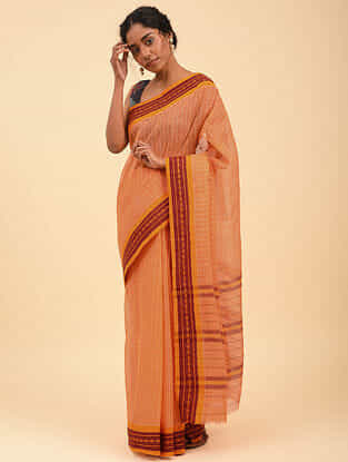 Peach Handwoven Narayanpet Cotton Saree
