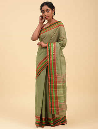 Green Handwoven Narayanpet Cotton Saree