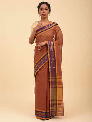 Rust Handwoven Narayanpet Cotton Saree