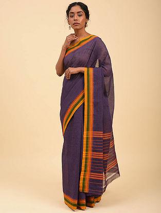 Purple Handwoven Narayanpet Cotton Saree