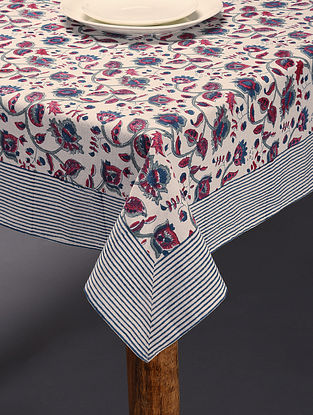 Multicolored Handblock Printed Block Table Cover (L-90in,W-60in)