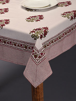 Pink and Green Handblock Printed Block Table Cover (L-90in, W-62in)
