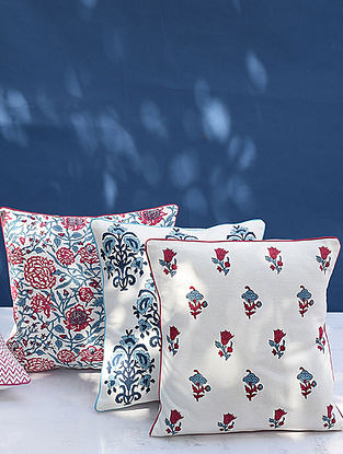 Pink and Blue Handblock Printed Cushion Cover (L-16in, W-16in)