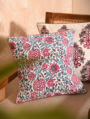 Pink and Blue Printed Cushion Cover (L-16in, W-16in)