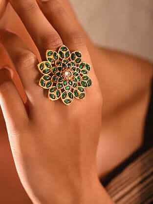 Green Gold Tone Temple Silver Adjustable Ring