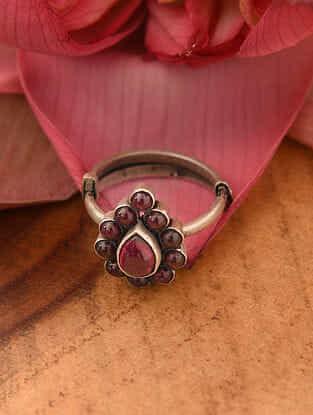 Maroon Temple Silver Adjustable Ring