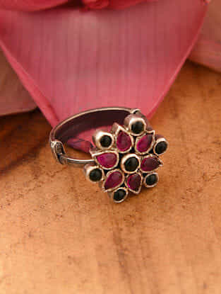 Maroon Green Temple Silver Adjustable Ring