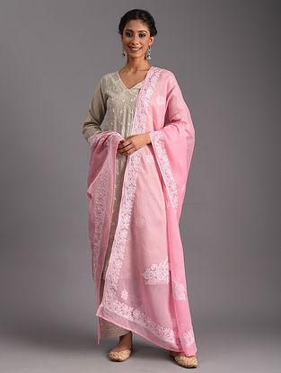 Pink Chikankari Kota Cotton Dupatta