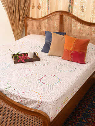 Hand Crafted Applique Cotton Double Bedcover with Embroidery (L - 110in, W - 88in)