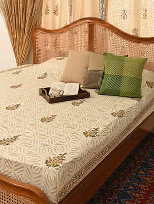 Hand Crafted Applique Cotton Block Printed Double Bedcover (L - 102in, W - 87in)